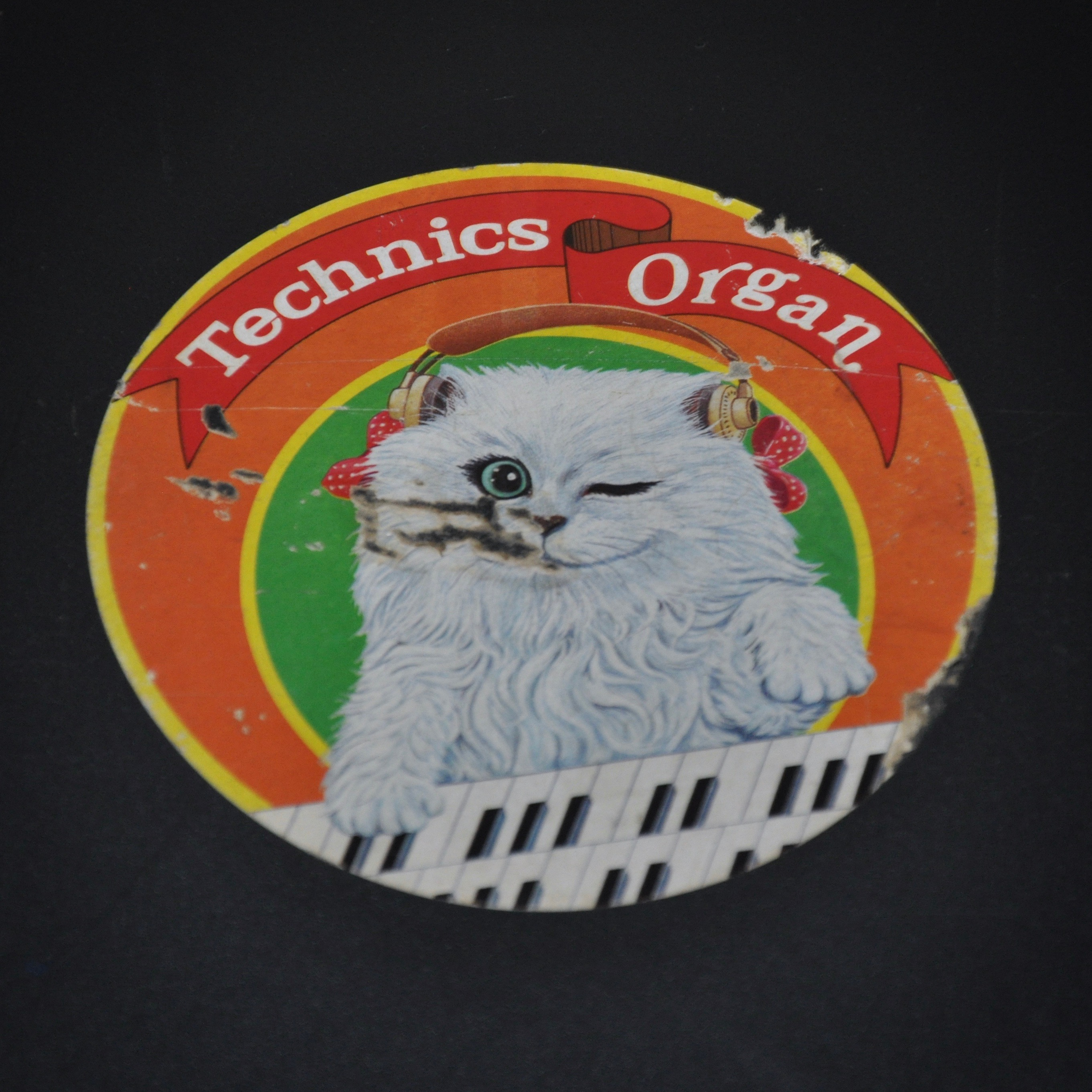 Vintage sticker op beschermkap typemachine Technics Organs