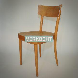 Jaren 70 eetkamerstoel in licht hout. Dutch Design