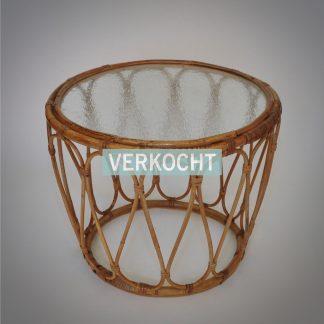 Rotan bijzettafel of plantentafel met origineel wolkulas