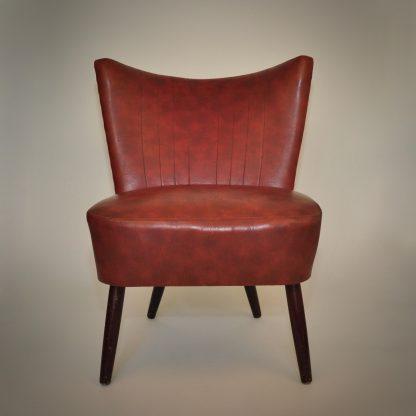 Vintage cocktailstoel rood bordeauxrood