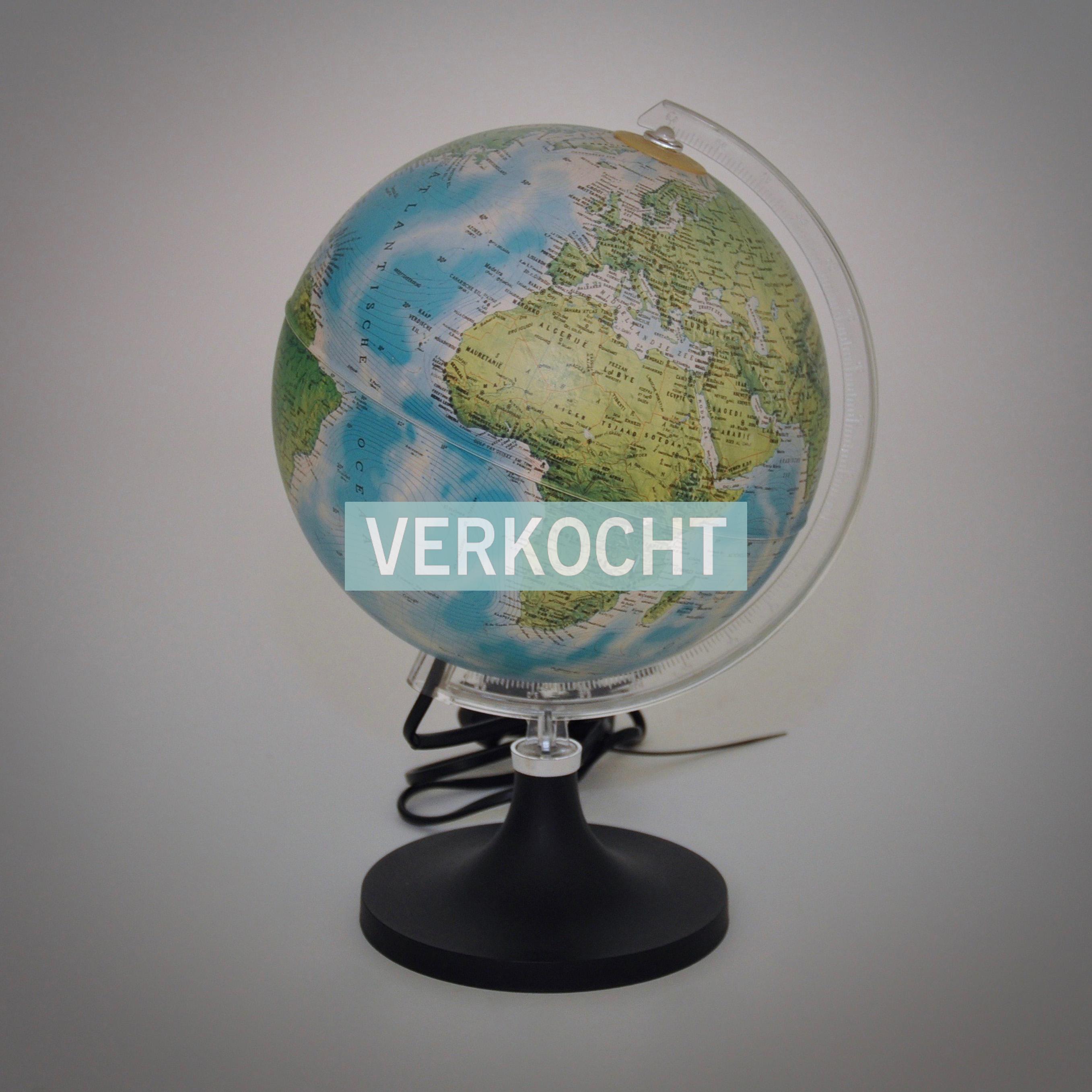 Vintage wereldbol lamp tafellamp bureaulamp globe