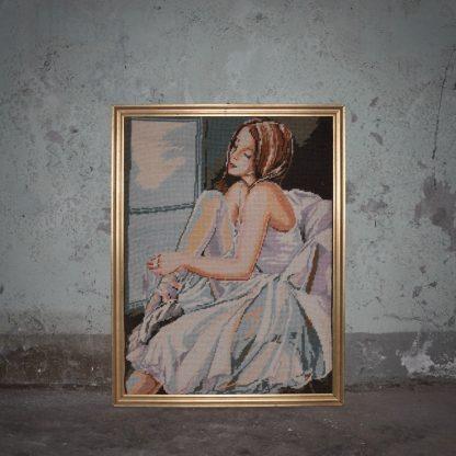 Geborduurd schilderij van een prima ballerina
