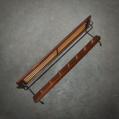 Sixties wooden coatrack kapstok jaren 60 hout metaal
