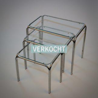 Vintage set bijzettafels chroom en glas
